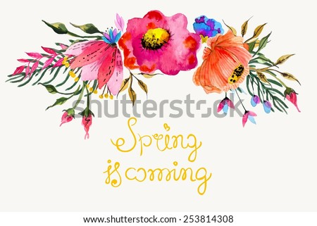 Beautiful colorful flowers, Watercolor painting for design with text - stock vector