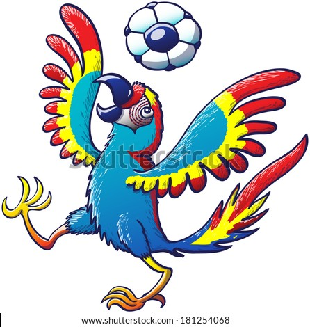 Beautiful colorful macaw opening its wings and raising a leg while enthusiastically bouncing a soccer ball on its head - stock vector