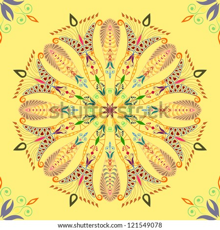Beautiful colorful pattern on yellow background. Seamless - stock vector