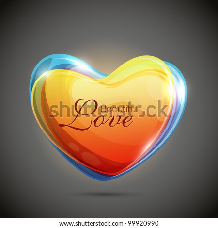 Beautiful colorful shiny and glowing heart shape having transparency effect, isolated on grey background. EPS 10. - stock vector