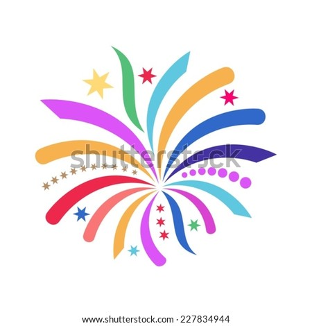 Beautiful colorful simple vector abstract firework icon isolated