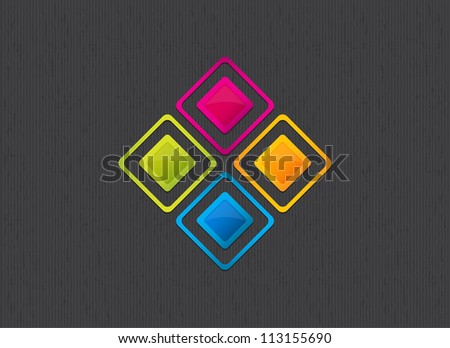 beautiful colorful square background - stock vector