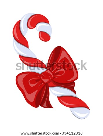 Beautiful,colorful,striped, twisted spiral candy cane and red satin bow on white background.Symbol Christmas holiday. - stock vector