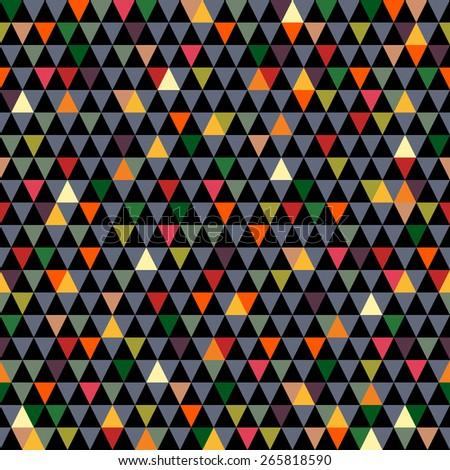 Beautiful colorful vintage geometrical vector seamless pattern background with multicolor triangles. Seamless pattern can be used for wrapping paper, postcards, textile, website background. - stock vector