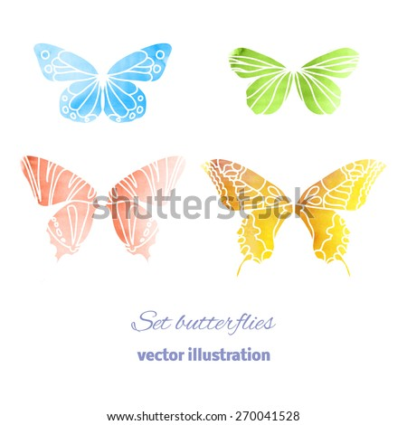 Beautiful Colorful Watercolor of flying Butterflies for your Design. Collection Vector Elements isolated on white Background. Vector illustration 10 EPS