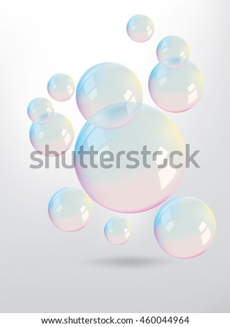 Beautiful colors reflection on the bubbles