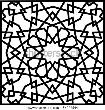 Beautiful complex twelve (12) point ancient islamic star geometric pattern ornament. Notable building that implement this ornament include Al-Azhar Mosque (built in 972) hence the name Al Azhar Panel - stock vector