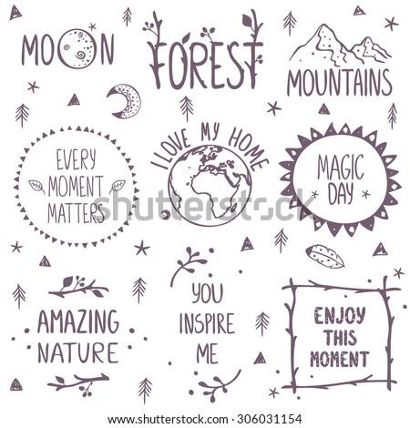 Beautiful concept set beautiful nature logos. Stylish vector illustration - stock vector