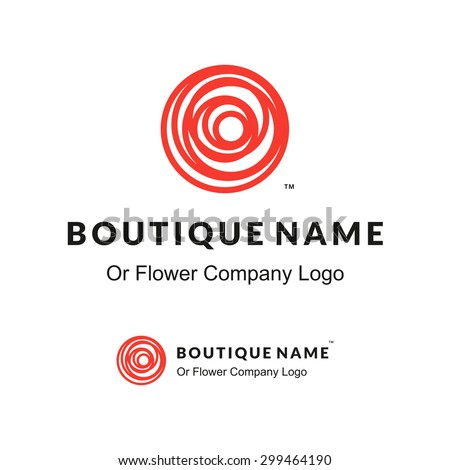 Beautiful Contour Red Logo with Rose Flower for Boutique or Beauty Salon or Flowers Company - stock vector