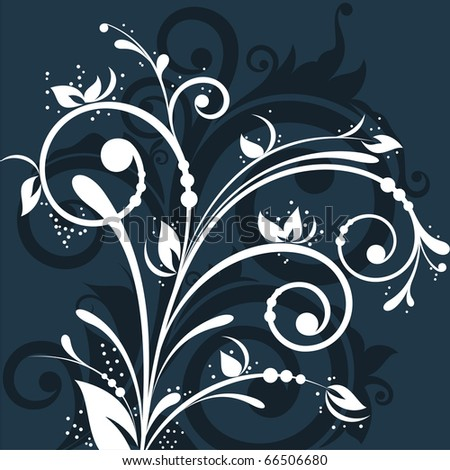 Beautiful contrasting floral design on dark background - stock vector