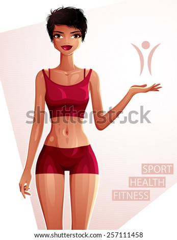 Beautiful coquette lady illustration, full body portrait of a sexy slim brunette showing at some empty copy space with her hand. Sport, health and fitness theme illustration. - stock vector