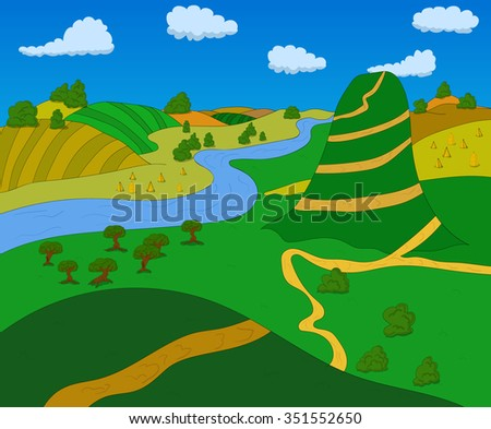 Beautiful country landscape. Vector illustration green fields for game