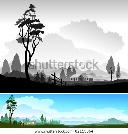 BEAUTIFUL COUNTRYSIDE LANDSCAPE - stock vector