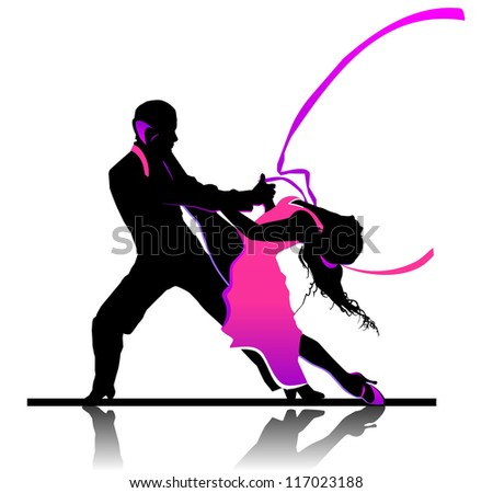 Beautiful couple in passionate dance - stock vector