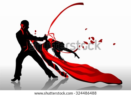 Beautiful couple in passionate dance. - stock vector