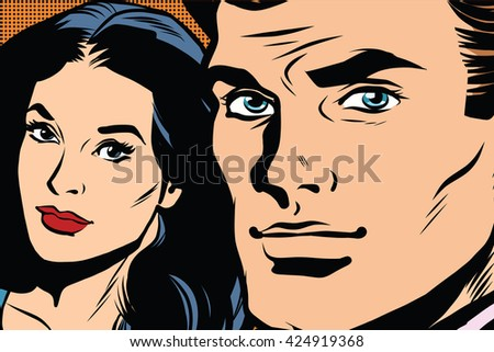 Beautiful couple man and woman pop art retro
