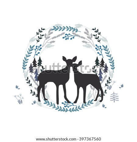 Beautiful couple of deers in forestry wreath on white background, love, eco, romance concept