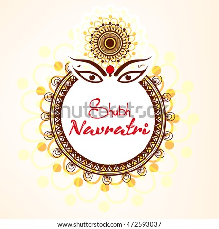 Beautiful & Creative Line Art based Floral Frame with Maa Durga Face and stylish text on the occassion of Shubh Navratri.