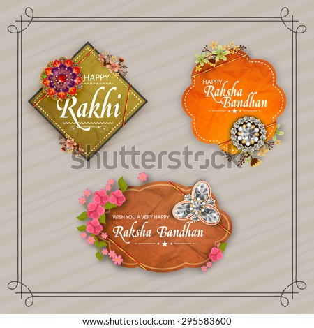 Beautiful creative rakhi and flowers decorated sticker, tag or label design on stylish background for Indian festival, Raksha Bandhan celebration.  - stock vector