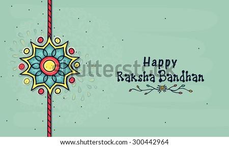 Beautiful creative rakhi on floral design decorated background for Indian festival, Raksha Bandhan celebration. - stock vector