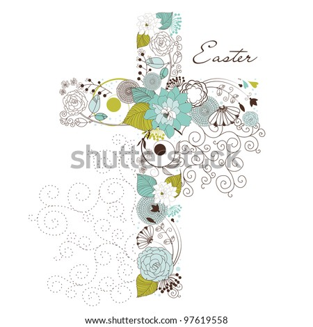 Beautiful cross made from flowers - stock vector
