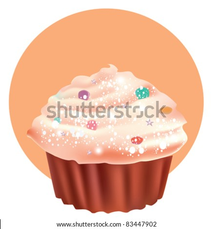 Beautiful cup cake - stock vector