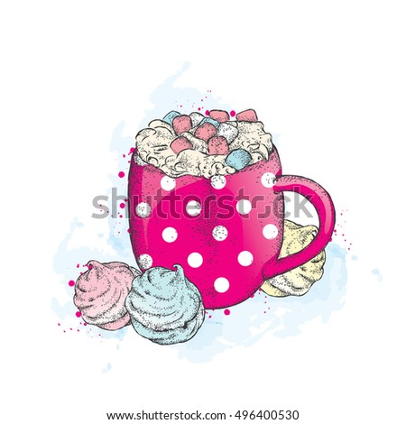 Beautiful cup in pea. Hot chocolate and marshmallows. Vector illustration for a card or poster, print on clothes. Drawing for the cover of a notebook or a menu. Cocoa.