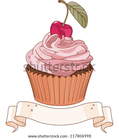 Beautiful cupcake with cherry on the top - stock vector