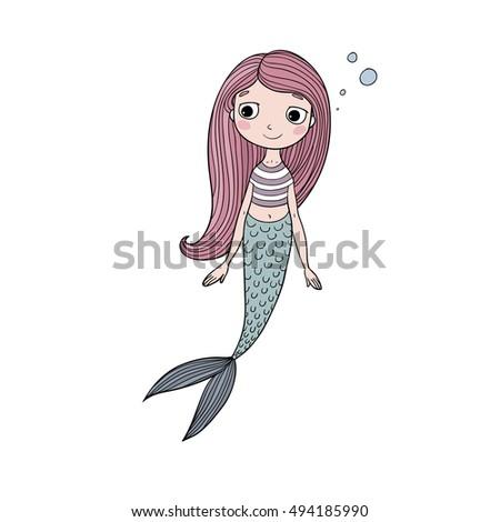 beautiful cute cartoon mermaid with long hair siren sea theme isolated objects on