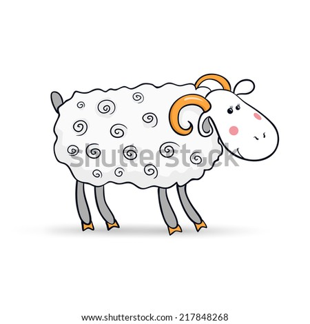Beautiful cute sheep, symbol of the new year, vector illustration