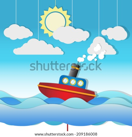 Beautiful Cute vector Steam Boat on paper cut seascape, background illustration - stock vector