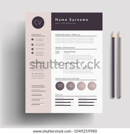 Beautiful CV / Resume Template   Elegant Stylish Design   Dusty Pink Color  Background Vector