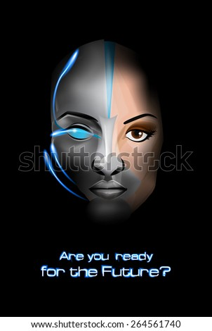 Beautiful cyber woman isolated on black background - stock vector