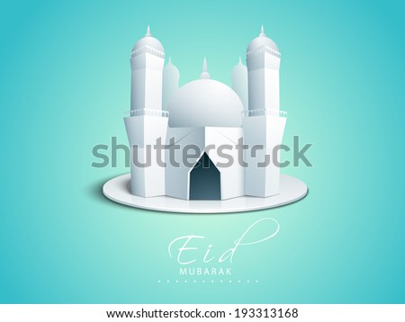 Beautiful 3D illustration of a mosque on shiny blue background, poster, banner or flyer design for celebration of Muslim community festival Eid Mubarak. - stock vector