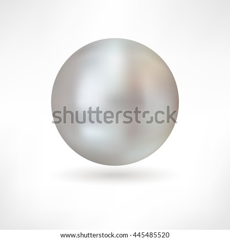 Beautiful 3D shiny natural Grey Nacre Pearl. Vector Illustration. Isolated  - stock vector