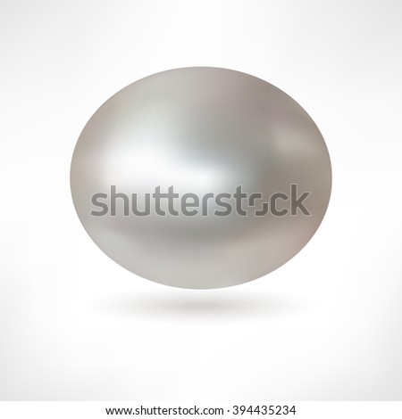 Beautiful 3D shiny natural Nacre Pearl. Vector Illustration. Isolated  - stock vector