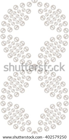 Beautiful 3D shiny natural White Pearl seamless pattern. Dotted petals. Wedding theme. Abstract Background. Vector Illustration.  - stock vector