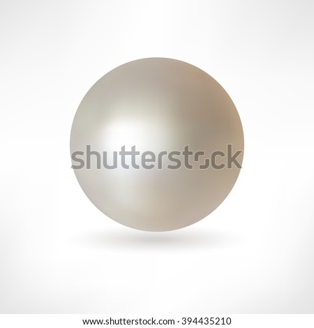 Beautiful 3D shiny natural White Pearl. Vector Illustration. Isolated  - stock vector