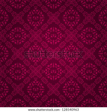 Beautiful Dark Purple Vintage Tile Wallpaper Design With Floral Elements Eps8 Vector