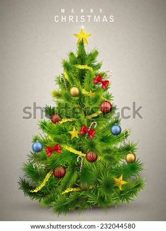 beautiful decorated Christmas tree isolated on grey background - stock vector