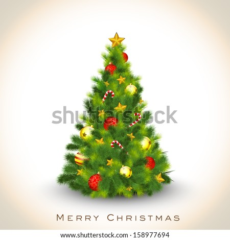Beautiful decorated Xmas Tree on abstract background for Merry Christmas celebration background.  - stock vector