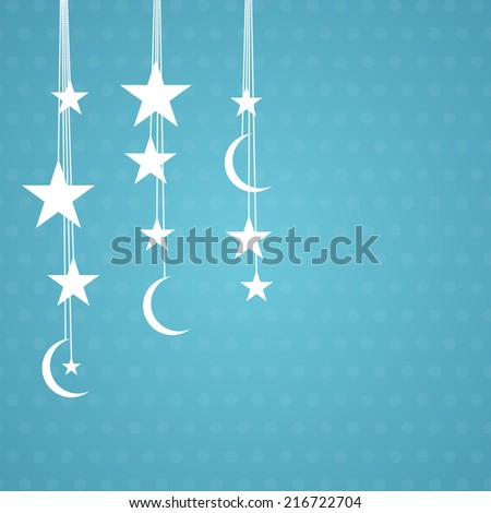 Beautiful decoration with shiny stars and moon on sky blue background for Muslim community festival Eid-Ul-Adha celebrations.  - stock vector