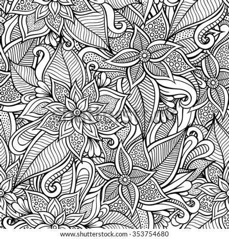 Beautiful decorative floral ethnic ornamental sketchy seamless pattern. Can be used for wallpaper, pattern fills, web page background, surface textures, coloring. - stock vector