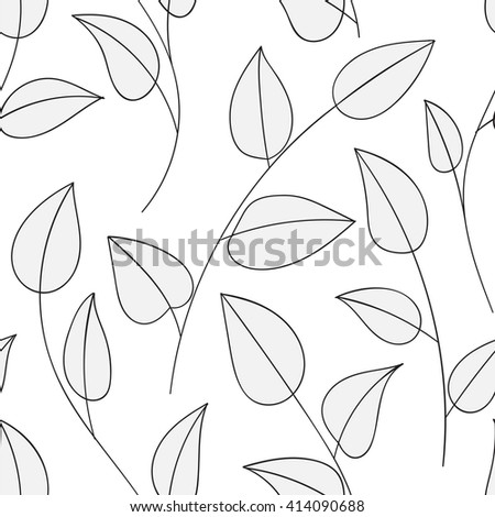 Beautiful decorative floral ornamental sketchy pattern, doodle style with foliage and branches.  - stock vector