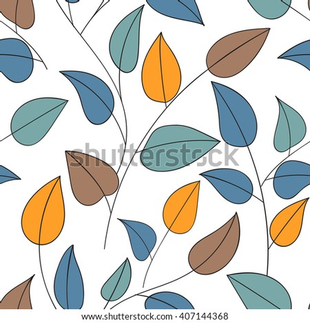 Beautiful decorative floral ornamental sketchy pattern, doodle style with foliage and branches. All elements are not cropped and hidden under mask, place the pattern on canvas and repeat - stock vector