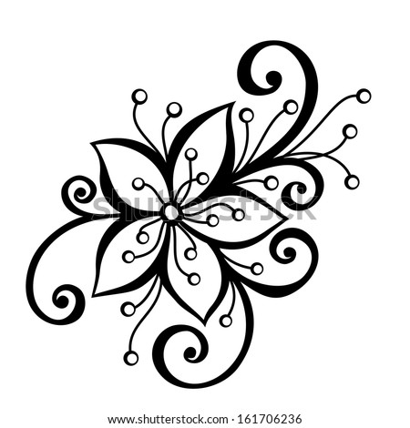 Beautiful Decorative Flower With Leaves Vector Patterned Design