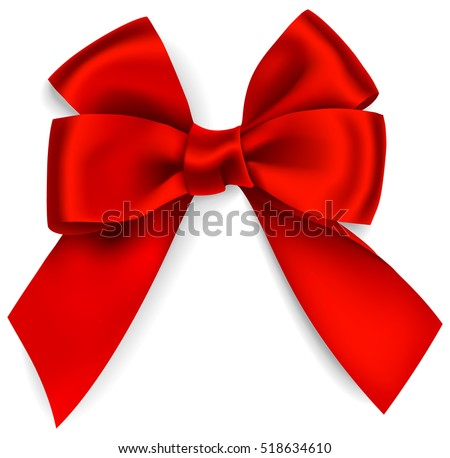 Beautiful decorative red bow isolated on white. Vector bow