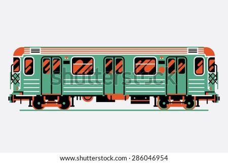 Beautiful decorative underground rapid transit train car vector design element | Modern three colored flat design urban transport item subway railway car - stock vector