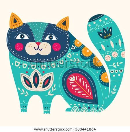 Beautiful decorative vector cat in blue colors - stock vector