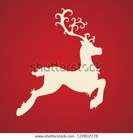 beautiful deer on red background